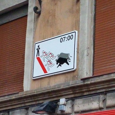 Running of the Bulls sign