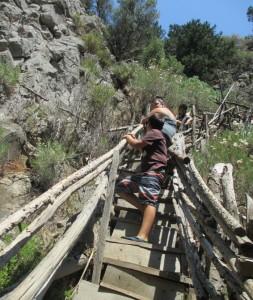 staircase at potami waterfalls