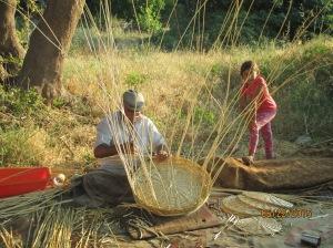 Gypsies making baskets in Greece