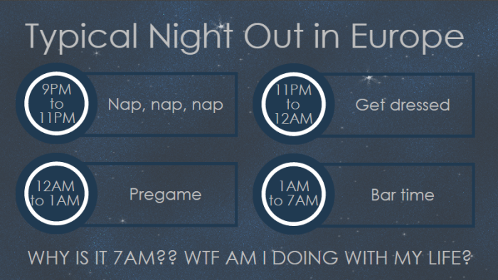 Typical night out in Europe