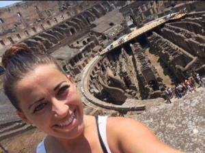 Shamelessly using a selfie stick at the Colosseum